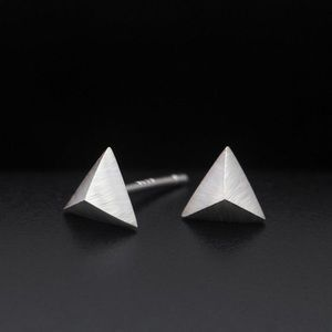 Jewelry - Silver 3D Pyramid Stud Earrings